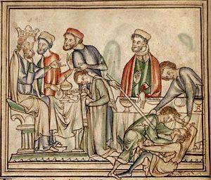 Tostig fighting Harold in front of Edward, Cambridge University Library MS. Ee.iii.59