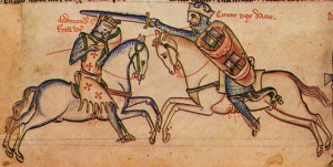 Combat between Canute the Dane and Edmund Ironside, Matthew Paris, Chronica Maiora, Cambridge, Corpus Chrisit, 26, f. 160