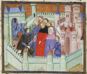 Henry Bolingbroke kneels to King Richard II
